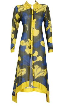 Olive green, yellow and blue rose printed shirt dress. BY DEV R NIL. Shop now at: www.perniaspopups... #perniaspopupshop #designer #stunning #fashion #style #beautiful #happyshopping #love #updates