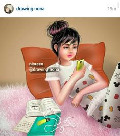 Image uploaded by nisreen. Find images and videos about draw, بُنَاتّ and تصاميمً on We Heart It - the app to get lost in what you love. Beautiful Girl Drawing, Cute Girl Drawing, Cartoon Girl Images, Cute Cartoon Girl, Girly Drawings, Art Drawings For Kids, Studying Girl, Girly Dp, Best Friend Drawings