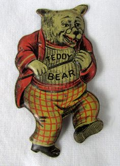 1900s-Teddy-Bear-Bread-Die-Cut-Embossed-Tin-Pin-with-Teddy-Roosevelt-likeness