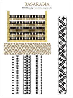 Semne Cusute: iie din BASARABIA - model (23) Folk Embroidery, Embroidery Patterns, Cross Stitch Patterns, Ethnic Patterns, Beading Patterns, Folk Fashion, Hama Beads, Pixel Art, Needlework