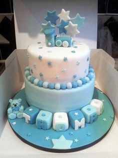 Lovely blue boys Christening cake all handmade decorations, this got transported two hours away and i was so relived when i got word it arrived safe!!