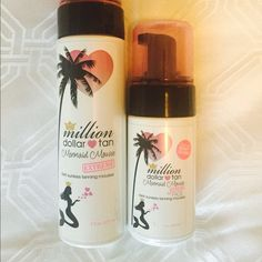 "Million Dollar Tan Sunless Tanner - Mermaid Mousse ""Extreme"" Ultra Dark. You get a full size bottle (7 oz) of sunless tanner for body and a 4 oz bottle of sunless tanner for face. Used one time - 95% of product left. Million Dollar Tan Other"