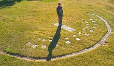 An 'aerial' view of the full Human Sundial Too cool!  Make your own sundial.