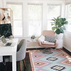 Home office #workspacegoals + regram from Mica @micamay in the USA ✨ This is the gorgeous home office of Mica May, the founder of May Designs. So many beautiful things in this space, we don't know where to look!  But let's be honest, we're all staring at the @westelm chair + @luluandgeorgia Elodie rug, right?!  Thanks Mica for the workspace ideas  Mint + blush = magic ✨ #homeofficeideasforwomen