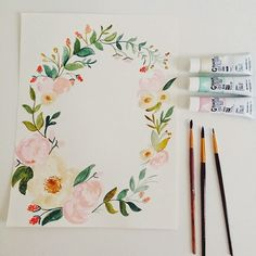 tiny place happy but Wreath Watercolor, Watercolor Flowers, Watercolor Paintings, Watercolor Ideas, Watercolours, Watercolor Lettering, Hand Lettering, Flower Frame, Flower Art