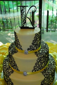 Black and Yellow wedding - 3 tier buttercream with real ribbon and brooches