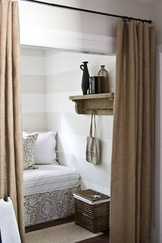 burlap curtains for laundry