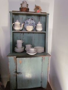 Fabulous Miniature/Child's robin's egg BLUE Stepback cupboard