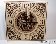 Celtic Stag Wall Clock Celtic Knots Clock Handmade Square