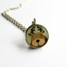 Items similar to Cute Reindeer Necklace - Reindeer Jewelry - Christmas Necklace - Holiday Gift - Xmas Gift Ideas - Festive Jewellery - Stocking Filler on Etsy Christmas Necklace, Zebras, Reindeer, Pocket Watch, Giraffe, Cufflinks, Cute Animals, Super Cute, Etsy Shop