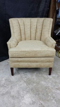 After chair recovered in pale gold cut velvet by David Lewis of Lewis Upholstery in Mount Holly, Arkansas