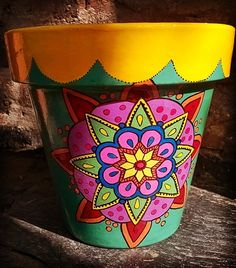 Painted Clay Pots, Painted Flower Pots, Hand Painted, Pottery Pots, Cactus Planta, Decorated Flower Pots, Flower Pot Design, Talavera Pottery, Clay Pot Crafts