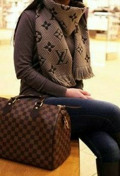 Louis Vuitton Fashion bag, scarf, brown jumper, jeans. Fall autumn elegant women fashion outfit clothing style apparel @roressclothes closet ideas
