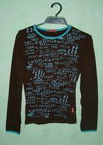Czekoladowa bluzeczka turkusowe printy