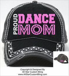 Proud Dance Mom Bling Hat, Custom Dance Mom Hat, Dance Mom Glitter Rhinestone Hat, Custom Rhinestone Cap, Dance Mom Baseball Hat by AllStarCustomBling on Etsy