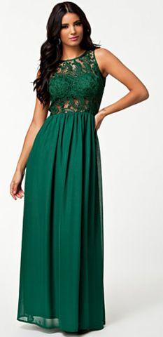 NLY - Jo Long Dress Green - Designer Dress hire   jaglady