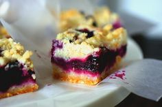 blueberry crumb bar- smitten kitchen, sub any flavor jam for the blueberry layer (1 1/2 - 2c)