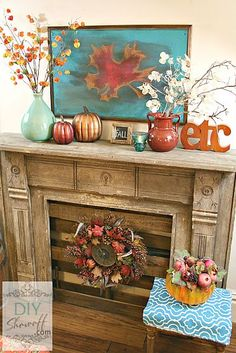 Decorating our mantel for fall