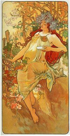 ALPHONSE MUCHA (Czech: 1860 –1939) - The Autumn (1896)