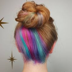 Kids Hair Color, Vivid Hair Color, Cool Hair Color, Hidden Hair Color, Peekaboo Hair, Underlights Hair, Purple Hair, Pink Purple, Coloured Hair