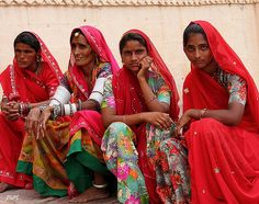 Women in Agra, India dressed in red