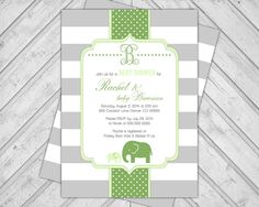 Printable Gender Neutral Elephant Baby Shower Invites #elephantbabyshower #invitations