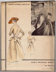 Vintage Vogue Paris Original Model Sew Pattern 1258 Desses Surplice Back in Collectibles, Sewing Patterns, Women Moda Vintage, Vintage Girls, Vintage Dresses, Vintage Outfits, 50s Vintage, Retro Fashion, Vintage Fashion, Vintage Vogue Patterns, Wrap Clothing