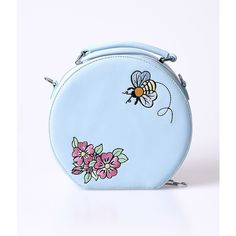 Hell Bunny Dusty Blue Bee Bee Matte Leatherette Vanity Bag (£58) ❤ liked on Polyvore featuring bags, handbags, light blue, pocket purse, zipper purse, flower print handbags, light blue purse and floral handbags