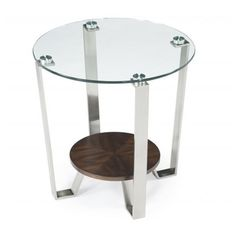 @Overstock.com - Pollock Round End Table - Give your living room or bedroom a modern feel with this round end table.This table features a bottom wooden shelf and a brushed nickel finish. Constructed from metal and glass, this stylish table is sure to complement your home for years.  http://www.overstock.com/Home-Garden/Pollock-Round-End-Table/8034034/product.html?CID=214117 $212.99