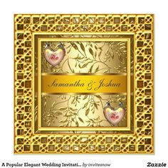 "A Popular Elegant Wedding Invitation Gold 5.25"" Square Invitation Card"