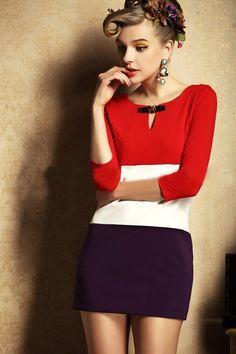 Morpheus Boutique  - Red White Black Colorblock  3/4 Sleeve Celebrity Dress