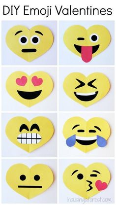 DIY Emoji Valentines Day Craft for Kids .I decided this was the perfect time to turn a few of their favorites emojis into Valentine's. We whipped up these little emoji hearts in no time. Valentine's Day Crafts For Kids, Valentine Crafts For Kids, Valentines Day Activities, Holiday Crafts, Art For Kids, Children Crafts, Spring Crafts, Valentines Bricolage, Kinder Valentines