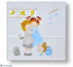 Cuadro infantil personalizado: Dos hermanitos abrazándose (ref. 10035)