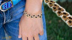 Beaded Bracelet Gold Leaves. 3D Beading Tutorial