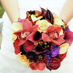Elegant Fall Black Brown Burgundy Gold Purple Red Yellow Bouquet Wedding Flowers Photos & Pictures - WeddingWire.com