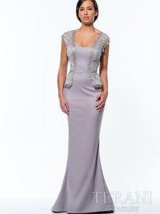e4a5c327d5 cap sleeve long mother of bride peplum dress 2015 Terani 151M0358 Fancy  Prom Dresses