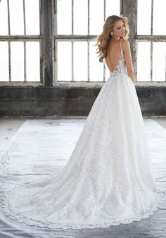Morilee 8204 Kasey Vintage Embroidered A-Line Wedding Dress Morilee 8204 Kasey Vintage Besticktes Brautkleid in A-Linie – Off White Bride A Line Bridal Gowns, Bridal Wedding Dresses, Wedding Dress Styles, Dream Wedding Dresses, Designer Wedding Dresses, Mori Lee Bridal, Fancy Dress Design, Wedding Dress Pictures, Mod Wedding