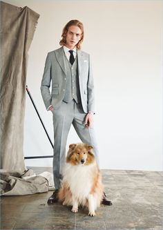 Paul Boche shows off a modern dandy look in a grey three-piece suit. The German model wears a Mango Man slim-fit wool-blend blazer $239.99, vest $99.99, and trousers $99.99. He also dons a Mango Man slim-fit tailored shirt $49.99, textured silk tie $35.99, and leather monk strap shoes $139.99.