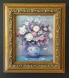 Peonies And Iris Oil Painting Reproduction Print Small Golden Antiqued Frame Art