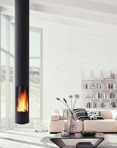 46 Fabulous Scandinavian Fireplace Design Ideas For A Warm Life - Home Bestiest Suspended Fireplace, Hanging Fireplace, Fireplace Lighting, Home Fireplace, Fireplace Design, Floating Fireplace, Focus Fireplaces, Fireplace Ideas, Modern Fireplaces