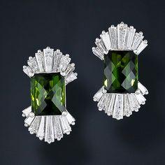 Green Tourmaline and Diamond Earrings  #TuscanyAgriturismoGiratola