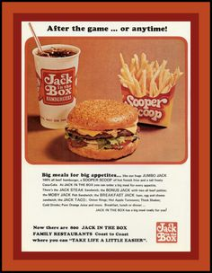 Jack In The Box advertisement, 1975  There was one in Ocala on Silver Springs Blvd. where the Veterans' Memorial Park is now - right there at 25th. ~K