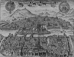 Paris vers 1600 avec les enceintes de Philippe Auguste, au premier plan, et CharlesV, en haut de l'image