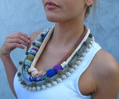 Jewelry / Eco-Friendly statement Necklace Handcrochet free form pastel tones necklace