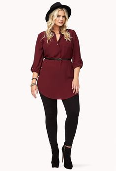 Classic Shirtdress w/ Belt | FOREVER21 PLUS - 2062764634