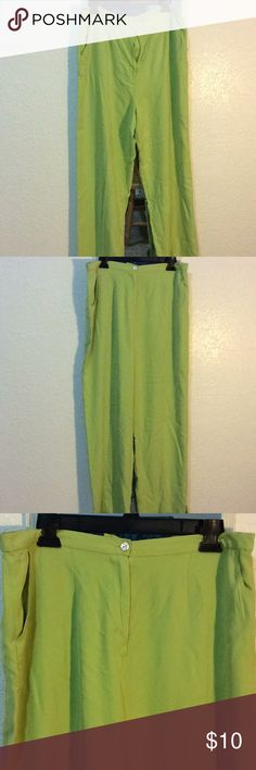 Lime green pants Lime green comfortable silk pants Pineapple Moon Pants Jumpsuits & Rompers