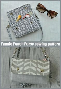 Fannie Pouch Purse sewing pattern. This Fannie Pouch is a cute convertible purse that can be snapped to the belt loops of your favorite jeans, or worn with a thin strap as a regular shoulder purse. The pattern also includes instructions on how to add a thin detachable handle which makes for a lovely convertible pouch that can be worn both attached to belt loops of your favorite jeans or carried as a regular little purse. Waist bag sewing pattern, fanny pack sewing pattern, bum bag sewing pattern Wallet Sewing Pattern, Bag Pattern Free, Bag Patterns To Sew, Sewing Patterns, Handbag Patterns, Diy Bags Purses, Purses And Handbags, How To Make Purses, Felt Purse