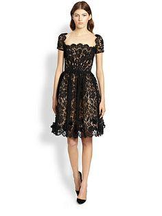 Scalloped Silk Dress by Saks Fifth Avenue