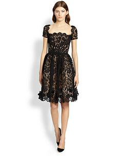 Scalloped Silk Dress by Saks Fifth Avenue