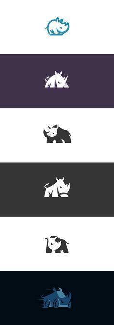 My rhino logo collection #rhino #rhinoceros #white #logo #logodesign #graphicdesign #graphic #design #identity #brand #creative #flat #vector #negativespace #negative #space #kreatank